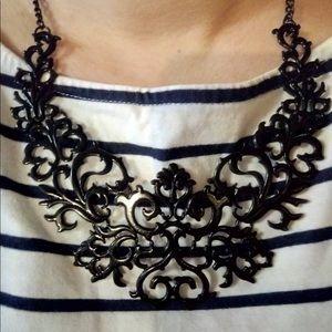 Jewelry - Black statement trendy necklace bib NEW